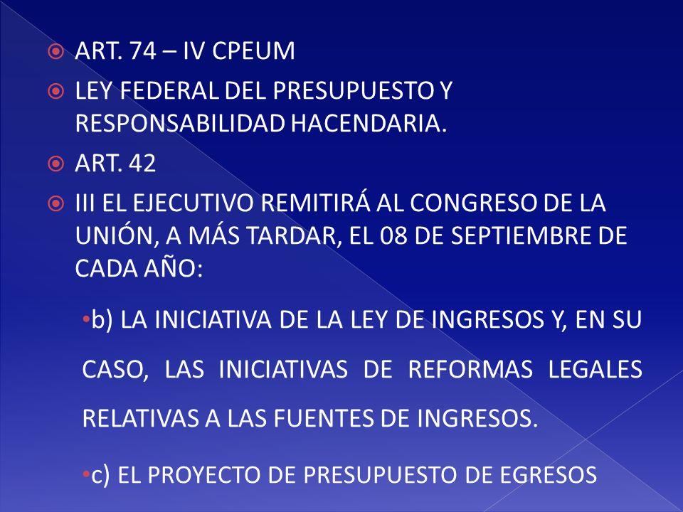 ART. 74 – IV CPEUM LEY FEDERAL DEL PRESUPUESTO Y RESPONSABILIDAD HACENDARIA. ART. 42.