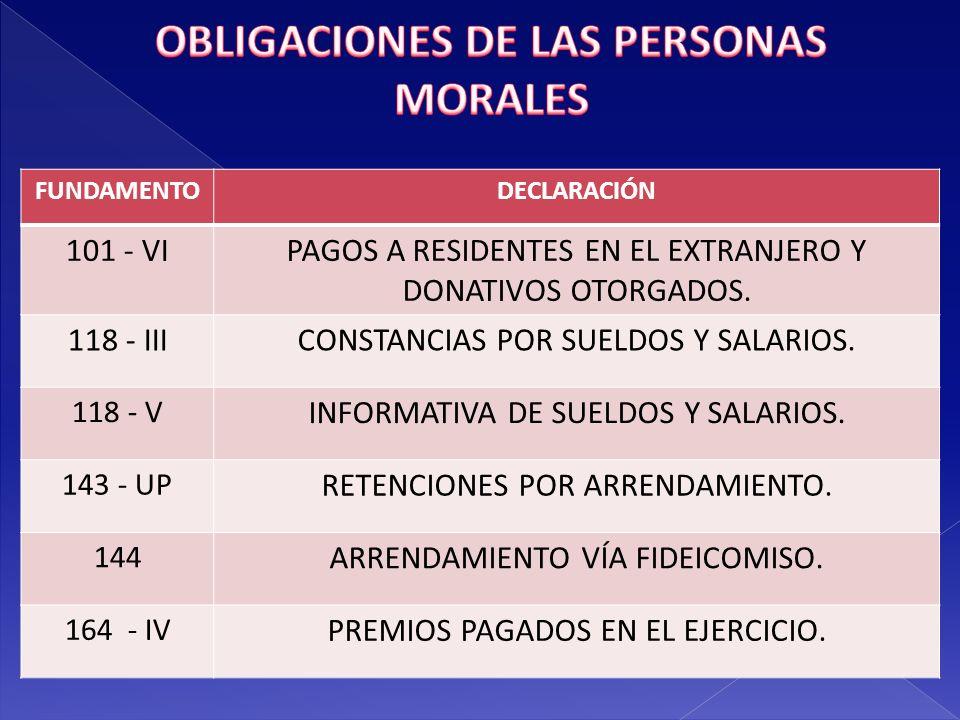OBLIGACIONES DE LAS PERSONAS MORALES