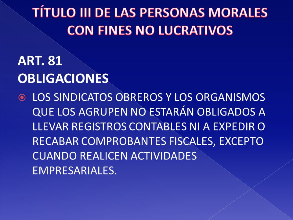 TÍTULO III DE LAS PERSONAS MORALES CON FINES NO LUCRATIVOS