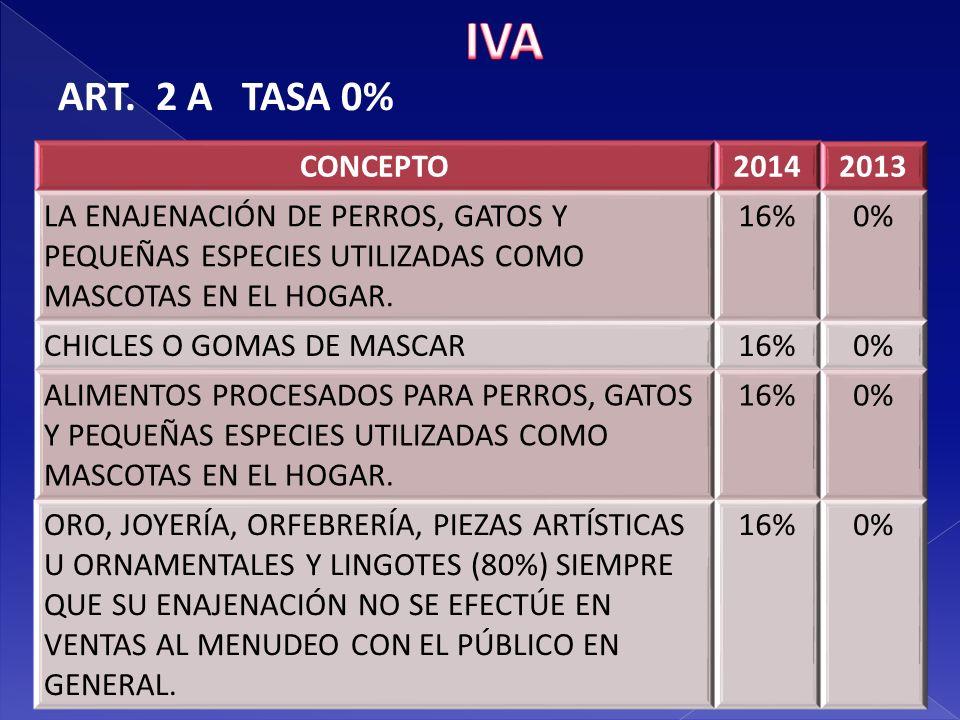 IVA ART. 2 A TASA 0% CONCEPTO 2014 2013