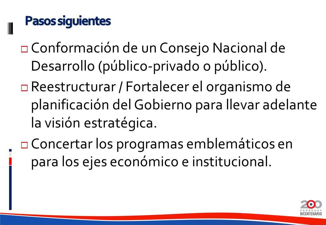 Pasos siguientes Conformación de un Consejo Nacional de Desarrollo (público-privado o público).