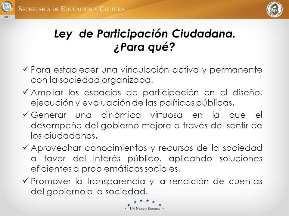 Ley de Participación Ciudadana. ¿Para qué