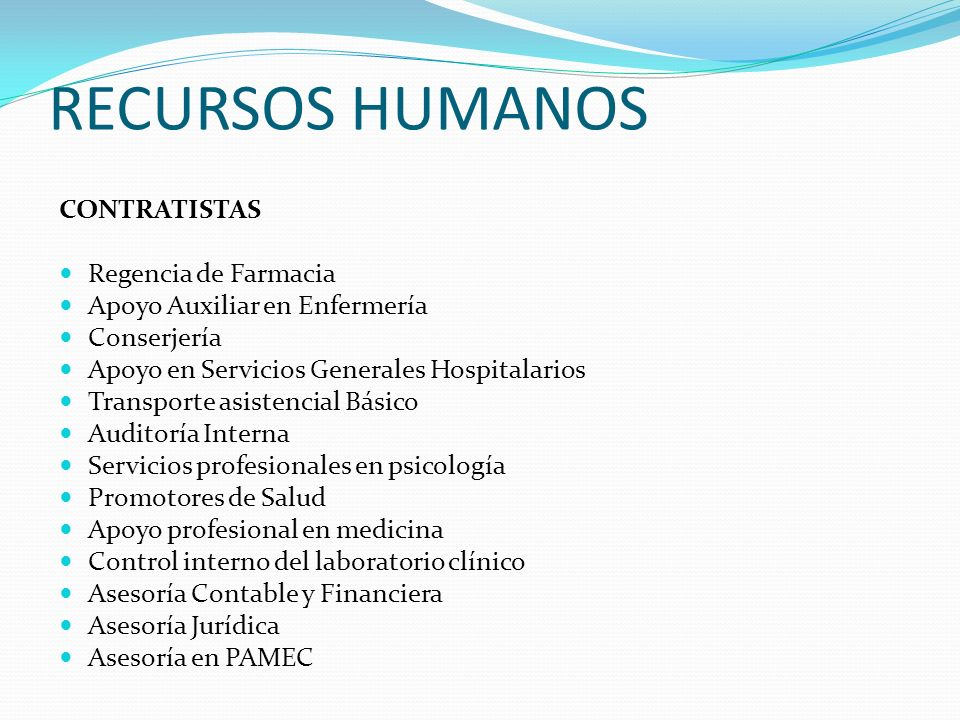 RECURSOS HUMANOS CONTRATISTAS Regencia de Farmacia