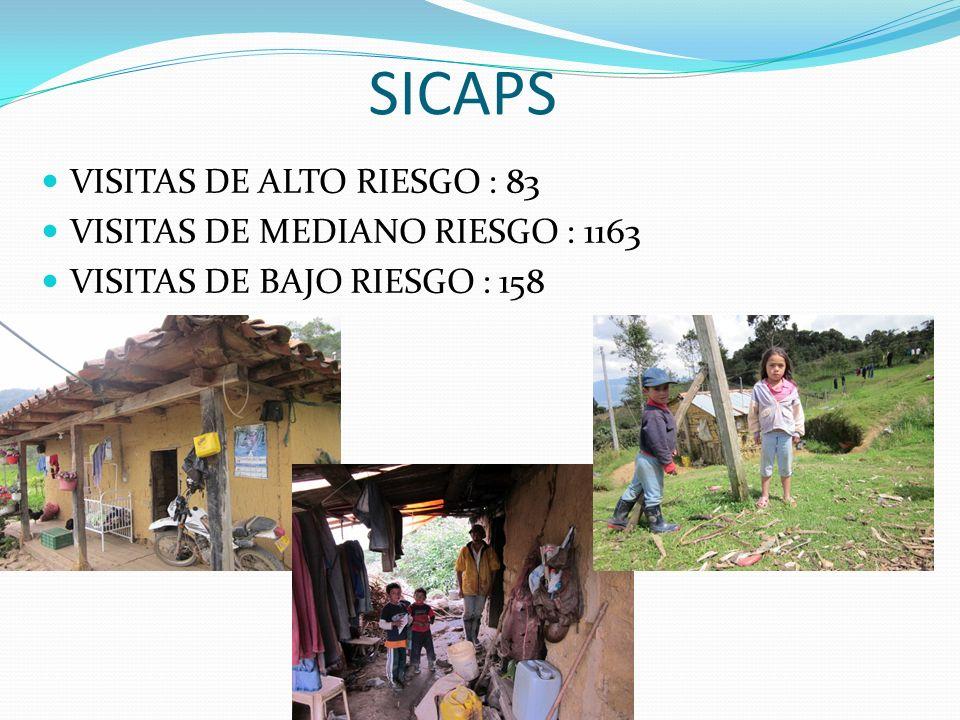 SICAPS VISITAS DE ALTO RIESGO : 83 VISITAS DE MEDIANO RIESGO : 1163