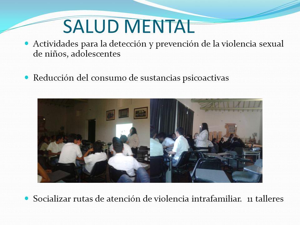SALUD MENTAL Actividades para la detección y prevención de la violencia sexual de niños, adolescentes.