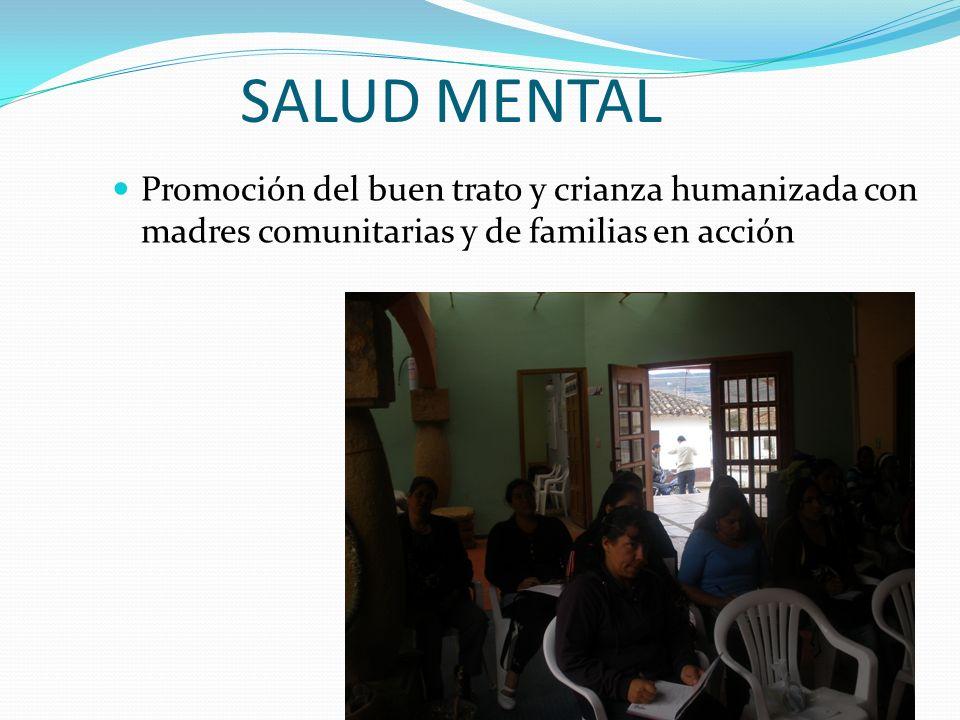 SALUD MENTAL Promoción del buen trato y crianza humanizada con madres comunitarias y de familias en acción.