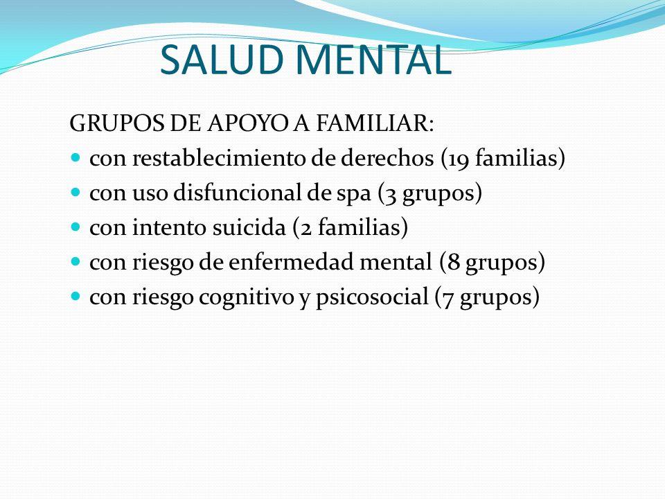SALUD MENTAL GRUPOS DE APOYO A FAMILIAR: