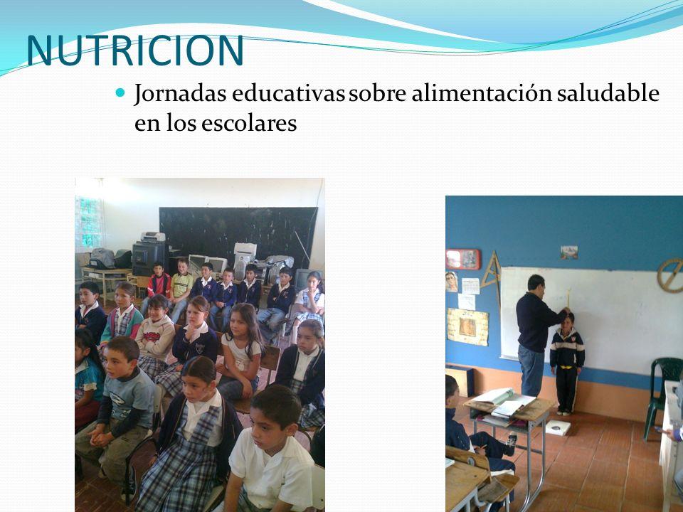 NUTRICION Jornadas educativas sobre alimentación saludable en los escolares