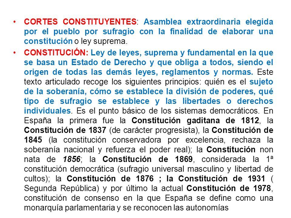 CORTES CONSTITUYENTES: Asamblea extraordinaria elegida por el pueblo por sufragio con la finalidad de elaborar una constitución o ley suprema.