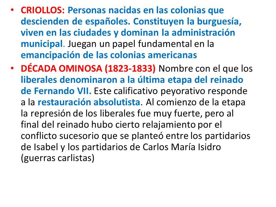 CRIOLLOS: Personas nacidas en las colonias que descienden de españoles