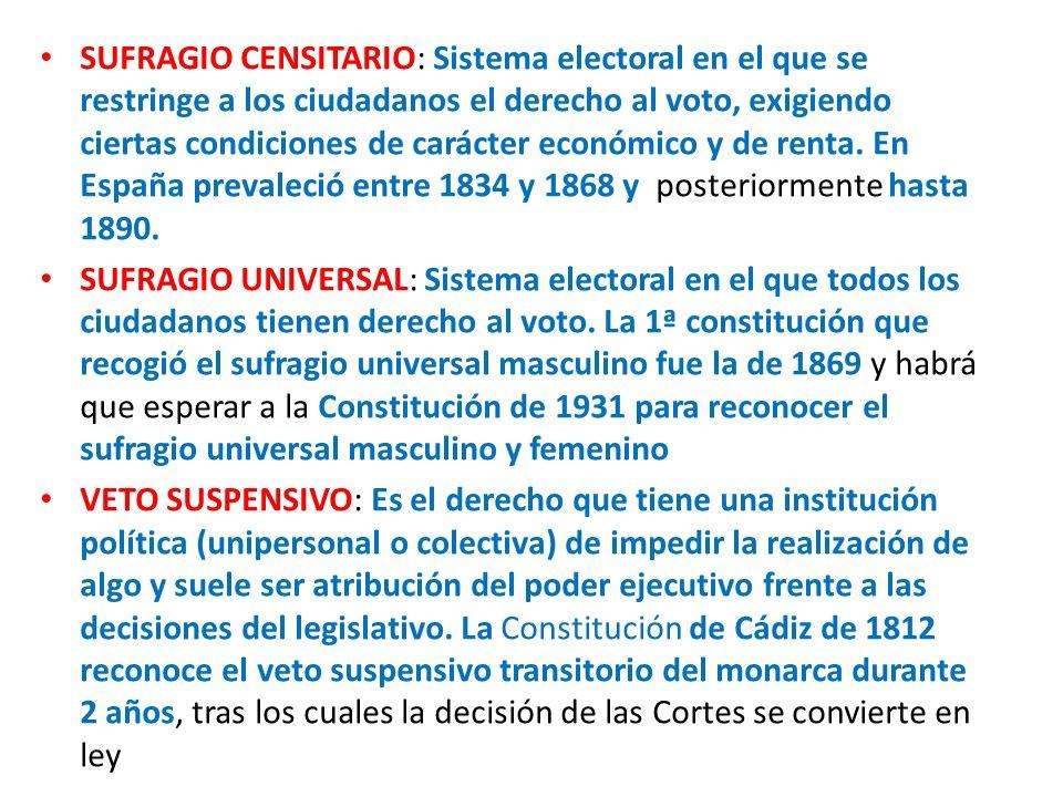 SUFRAGIO CENSITARIO: Sistema electoral en el que se restringe a los ciudadanos el derecho al voto, exigiendo ciertas condiciones de carácter económico y de renta. En España prevaleció entre 1834 y 1868 y posteriormente hasta 1890.