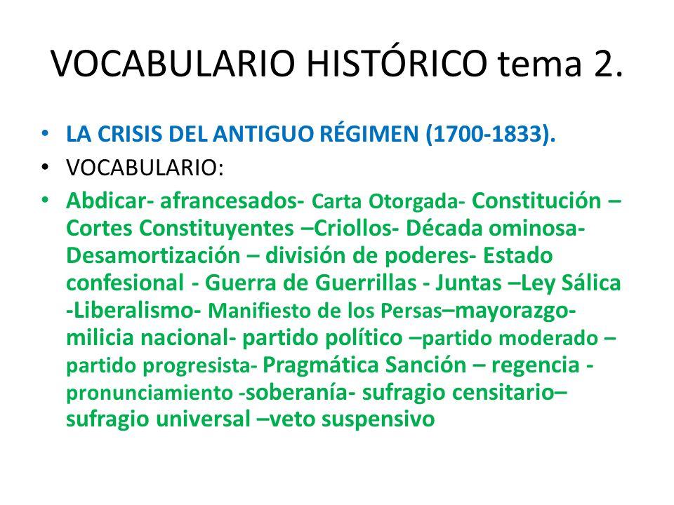 VOCABULARIO HISTÓRICO tema 2.
