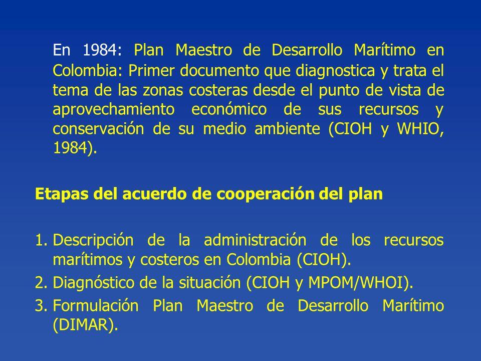 En 1984: Plan Maestro de Desarrollo Marítimo en Colombia: Primer documento que diagnostica y trata el tema de las zonas costeras desde el punto de vista de aprovechamiento económico de sus recursos y conservación de su medio ambiente (CIOH y WHIO, 1984).