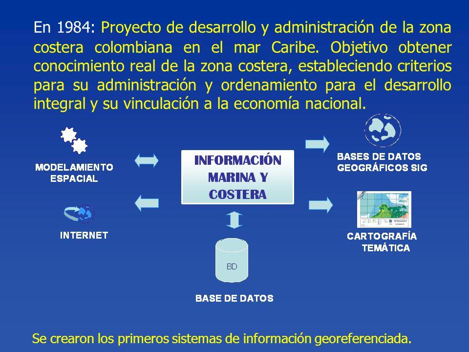 En 1984: Proyecto de desarrollo y administración de la zona costera colombiana en el mar Caribe. Objetivo obtener conocimiento real de la zona costera, estableciendo criterios para su administración y ordenamiento para el desarrollo integral y su vinculación a la economía nacional.