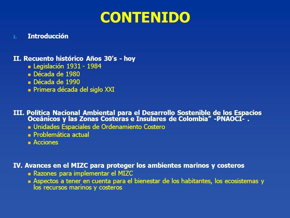 CONTENIDO Introducción II. Recuento histórico Años 30's - hoy