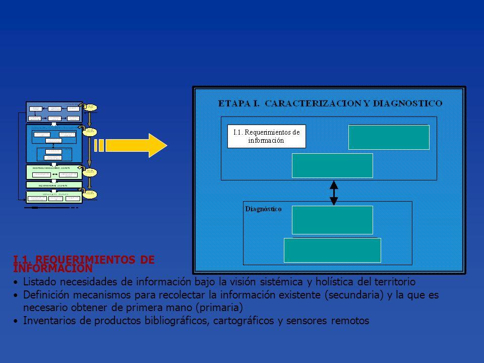 I.1. REQUERIMIENTOS DE INFORMACION. Listado necesidades de información bajo la visión sistémica y holística del territorio.