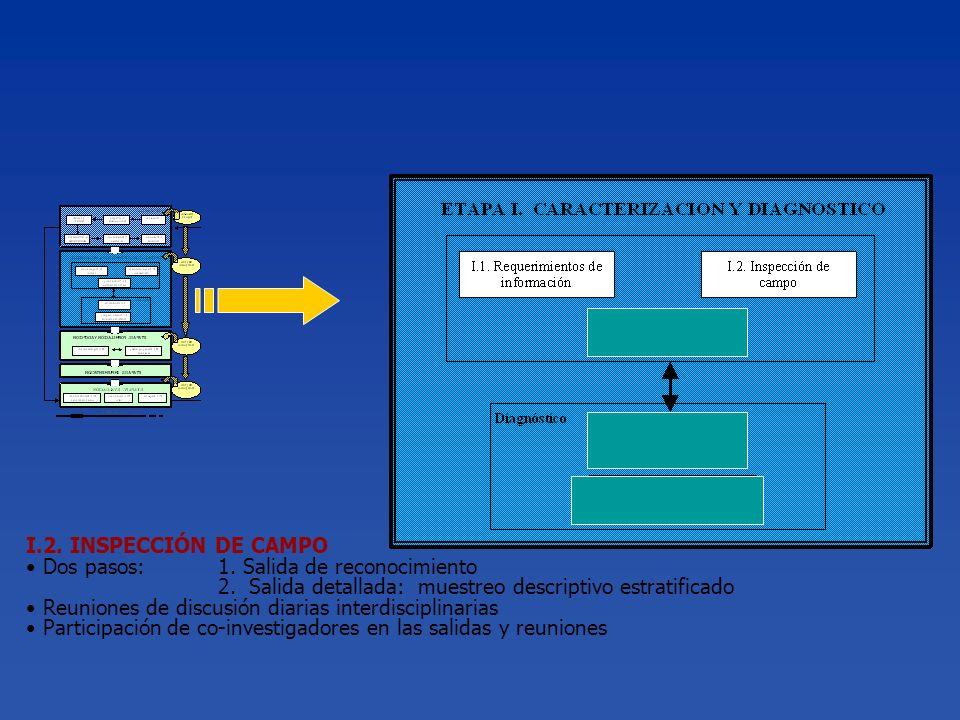 I.2. INSPECCIÓN DE CAMPO Dos pasos: 1. Salida de reconocimiento. 2. Salida detallada: muestreo descriptivo estratificado.