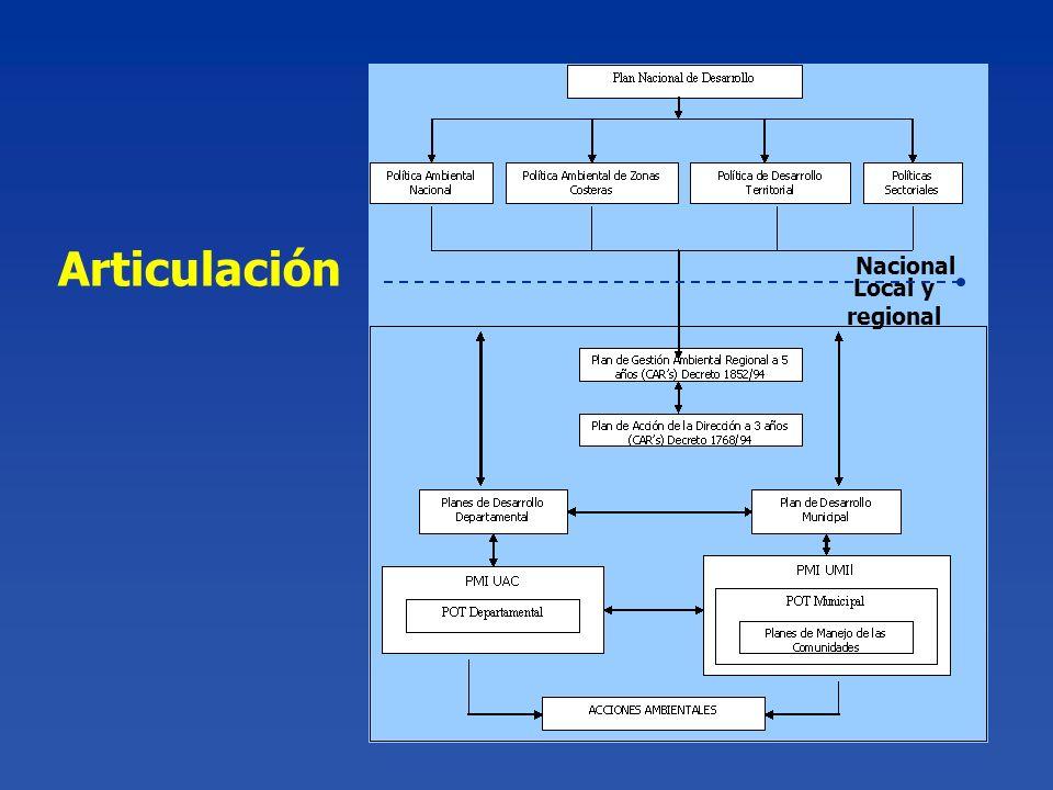 Nacional Local y regional Articulación