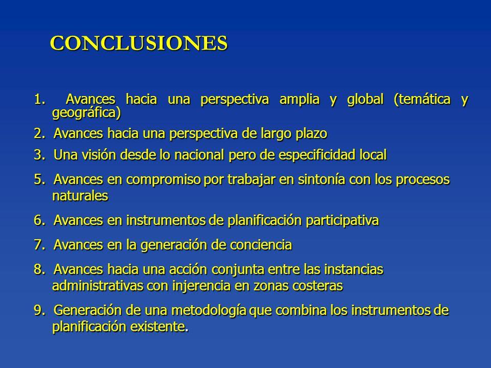 CONCLUSIONES 1. Avances hacia una perspectiva amplia y global (temática y geográfica) 2. Avances hacia una perspectiva de largo plazo.