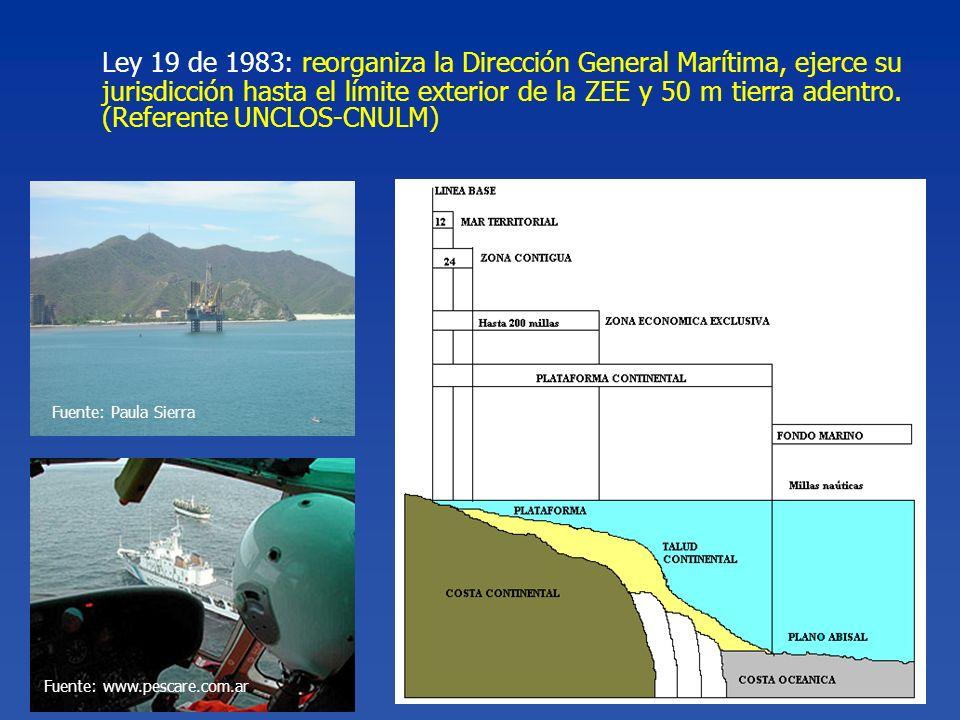 Ley 19 de 1983: reorganiza la Dirección General Marítima, ejerce su jurisdicción hasta el límite exterior de la ZEE y 50 m tierra adentro. (Referente UNCLOS-CNULM)