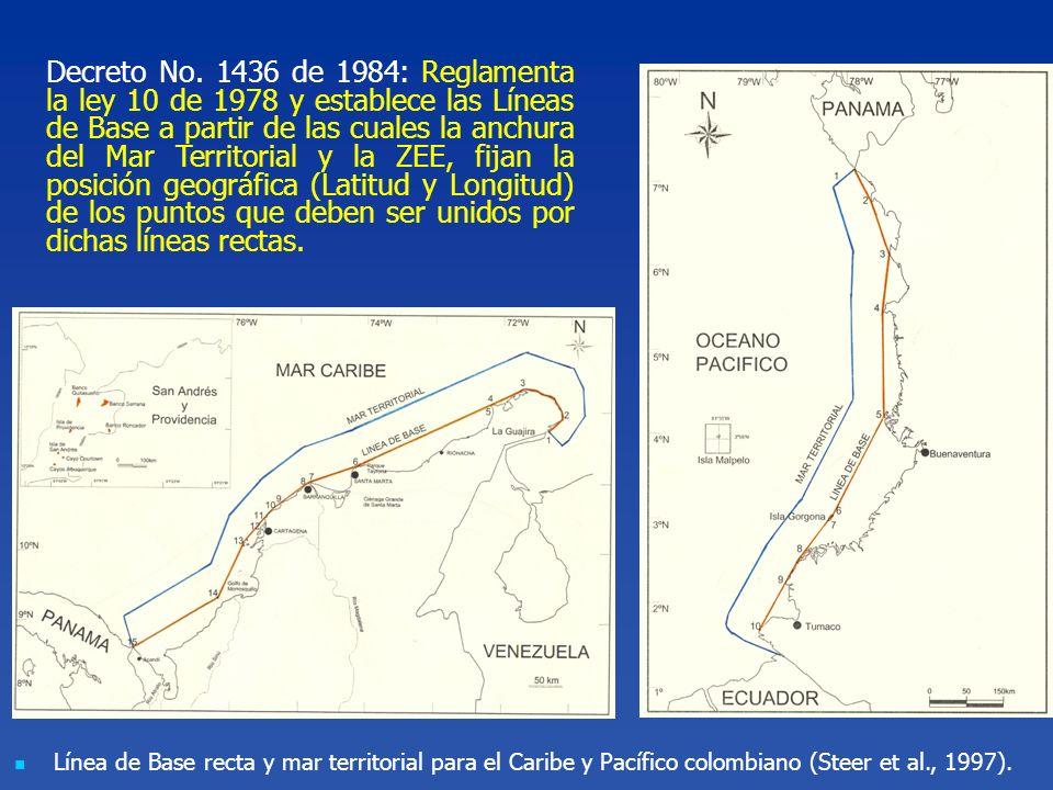 Decreto No. 1436 de 1984: Reglamenta la ley 10 de 1978 y establece las Líneas de Base a partir de las cuales la anchura del Mar Territorial y la ZEE, fijan la posición geográfica (Latitud y Longitud) de los puntos que deben ser unidos por dichas líneas rectas.
