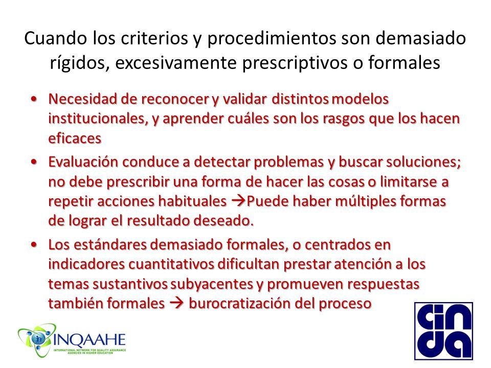 Cuando los criterios y procedimientos son demasiado rígidos, excesivamente prescriptivos o formales