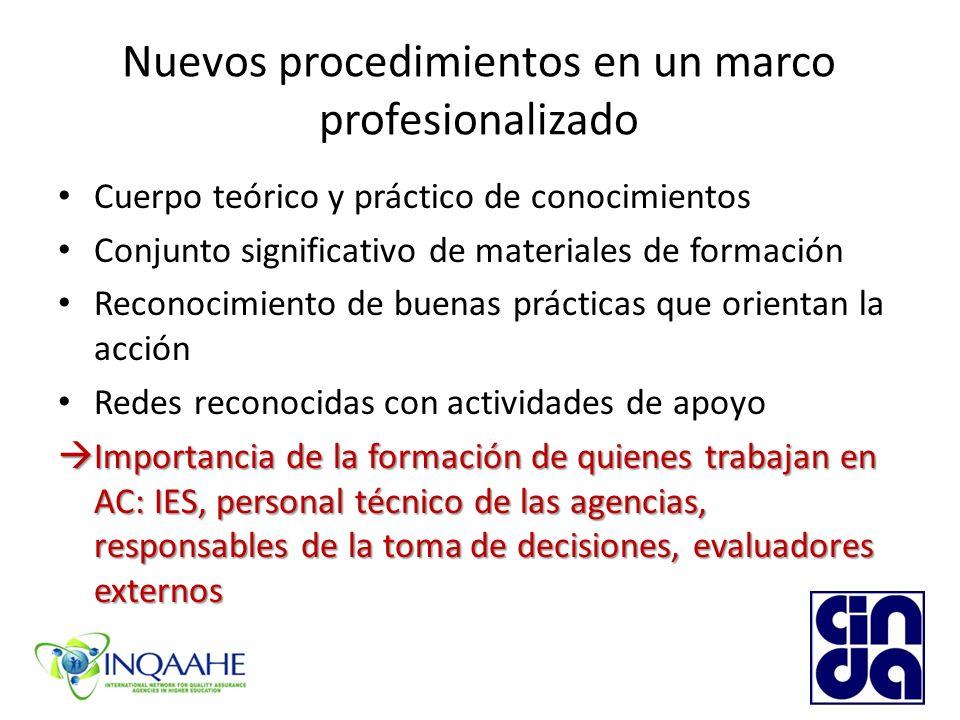Nuevos procedimientos en un marco profesionalizado