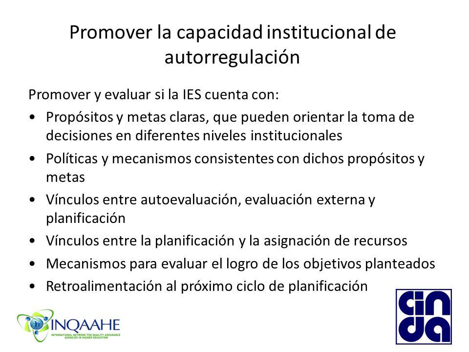 Promover la capacidad institucional de autorregulación