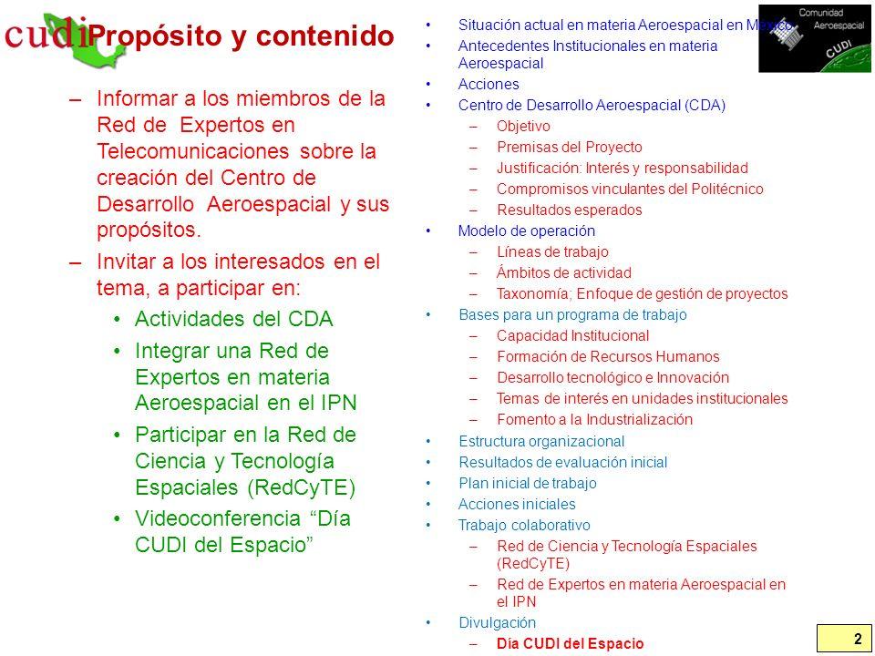 Propósito y contenido Situación actual en materia Aeroespacial en México. Antecedentes Institucionales en materia Aeroespacial.