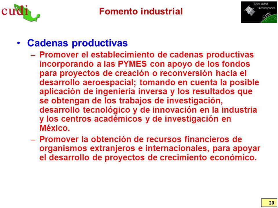 Cadenas productivas Fomento industrial