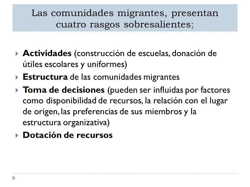 Las comunidades migrantes, presentan cuatro rasgos sobresalientes;