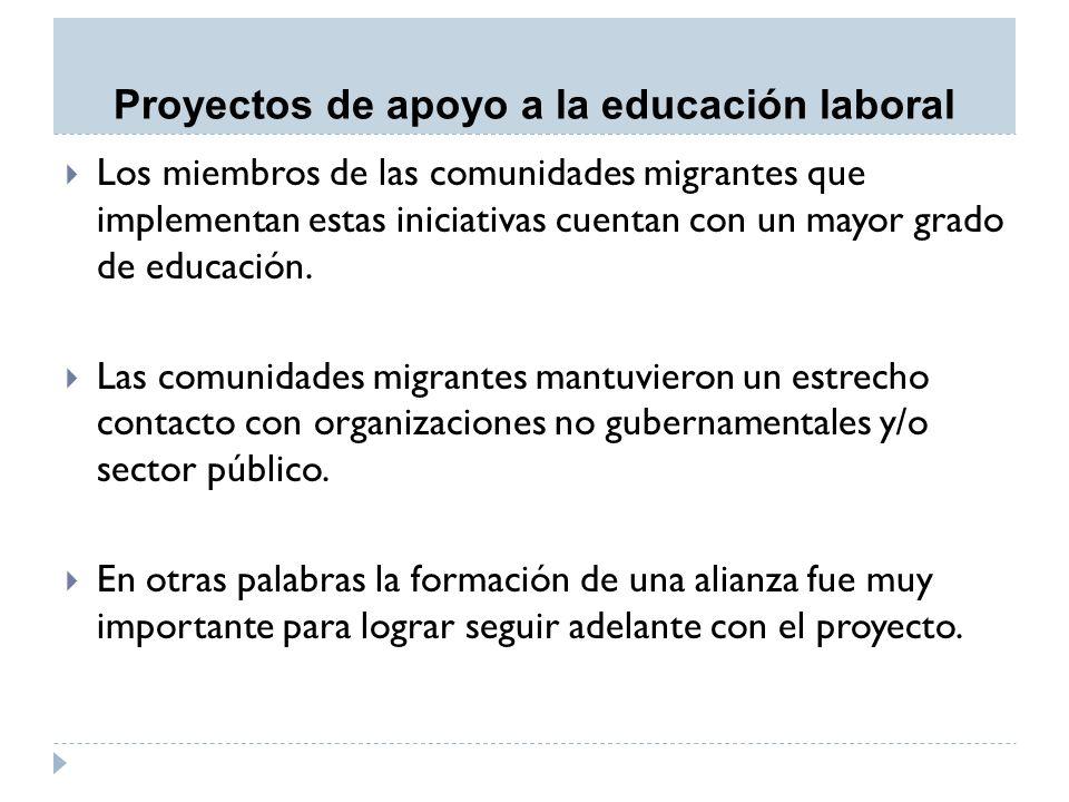 Proyectos de apoyo a la educación laboral