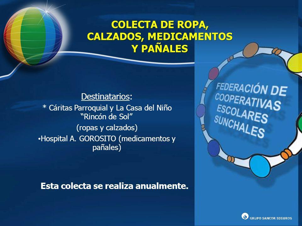 COLECTA DE ROPA, CALZADOS, MEDICAMENTOS Y PAÑALES