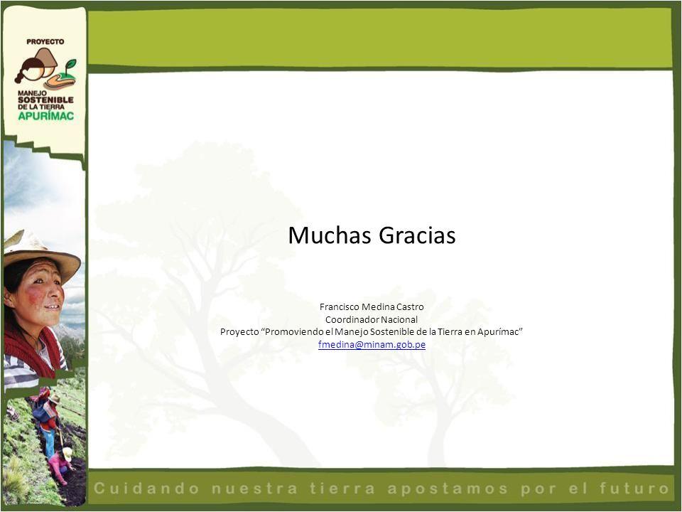 Muchas Gracias Francisco Medina Castro Coordinador Nacional Proyecto Promoviendo el Manejo Sostenible de la Tierra en Apurímac fmedina@minam.gob.pe
