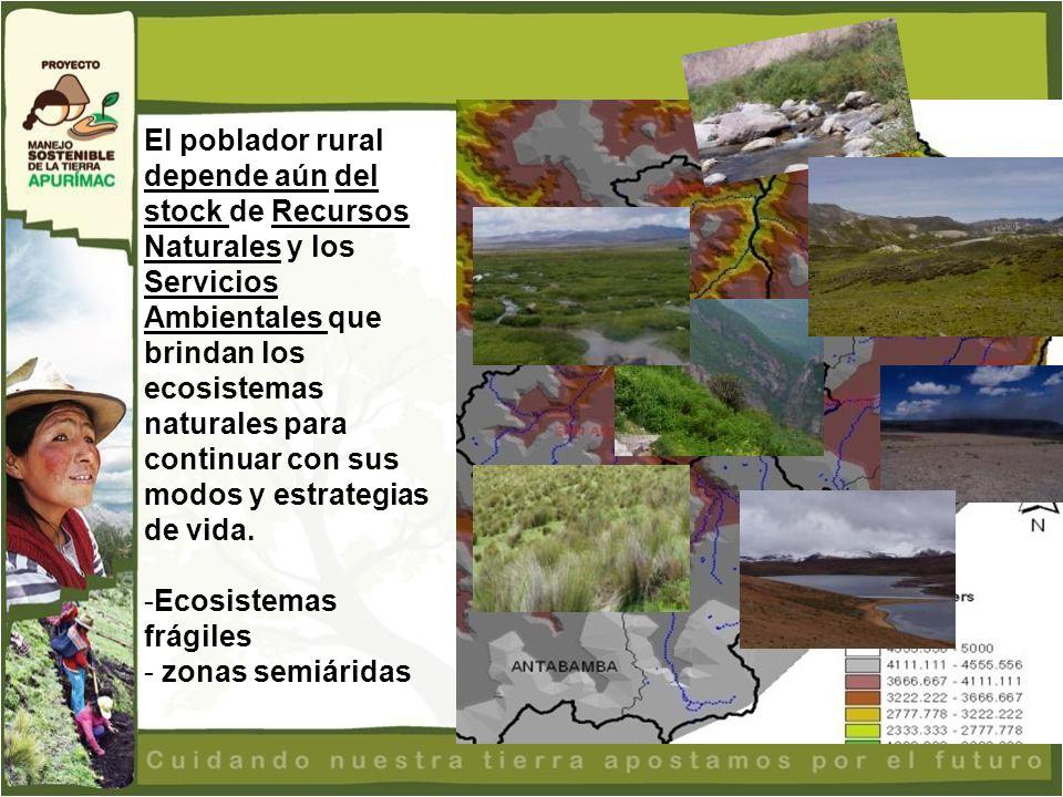 El poblador rural depende aún del stock de Recursos Naturales y los Servicios Ambientales que brindan los ecosistemas naturales para continuar con sus modos y estrategias de vida.