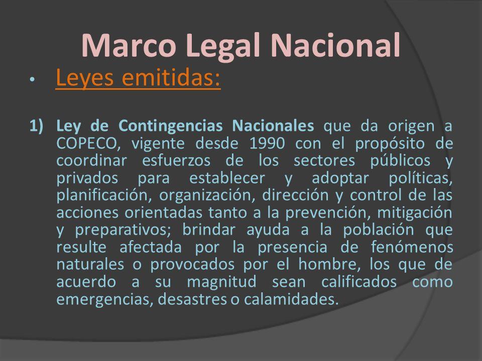 Marco Legal Nacional Leyes emitidas: