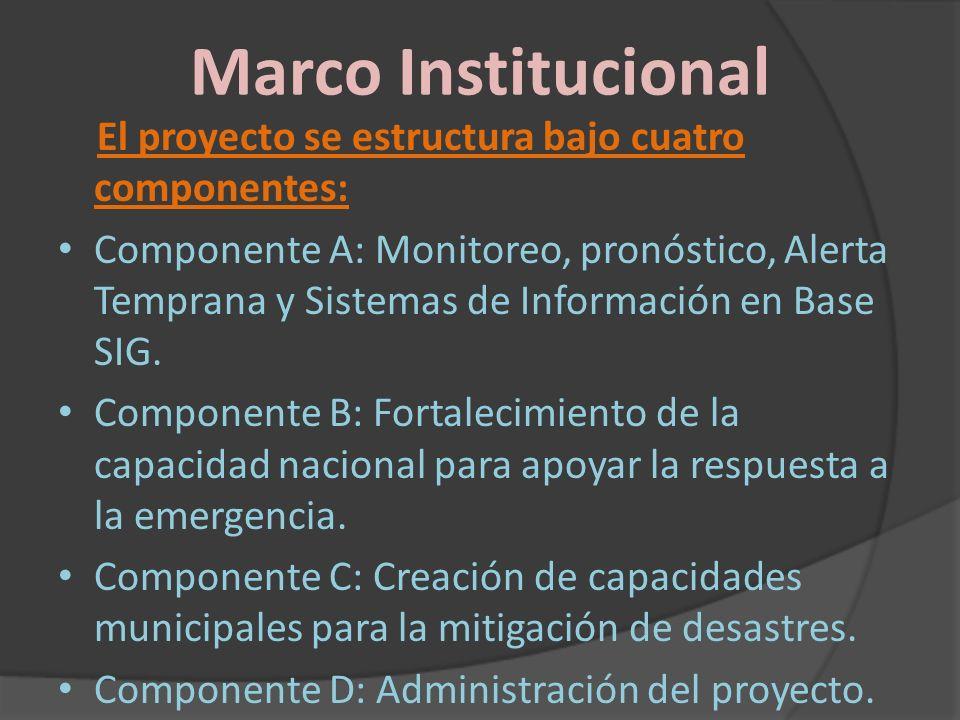 Marco Institucional El proyecto se estructura bajo cuatro componentes:
