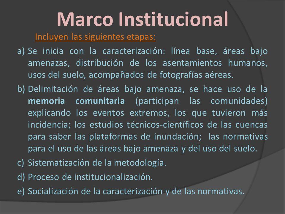 Marco Institucional Incluyen las siguientes etapas: