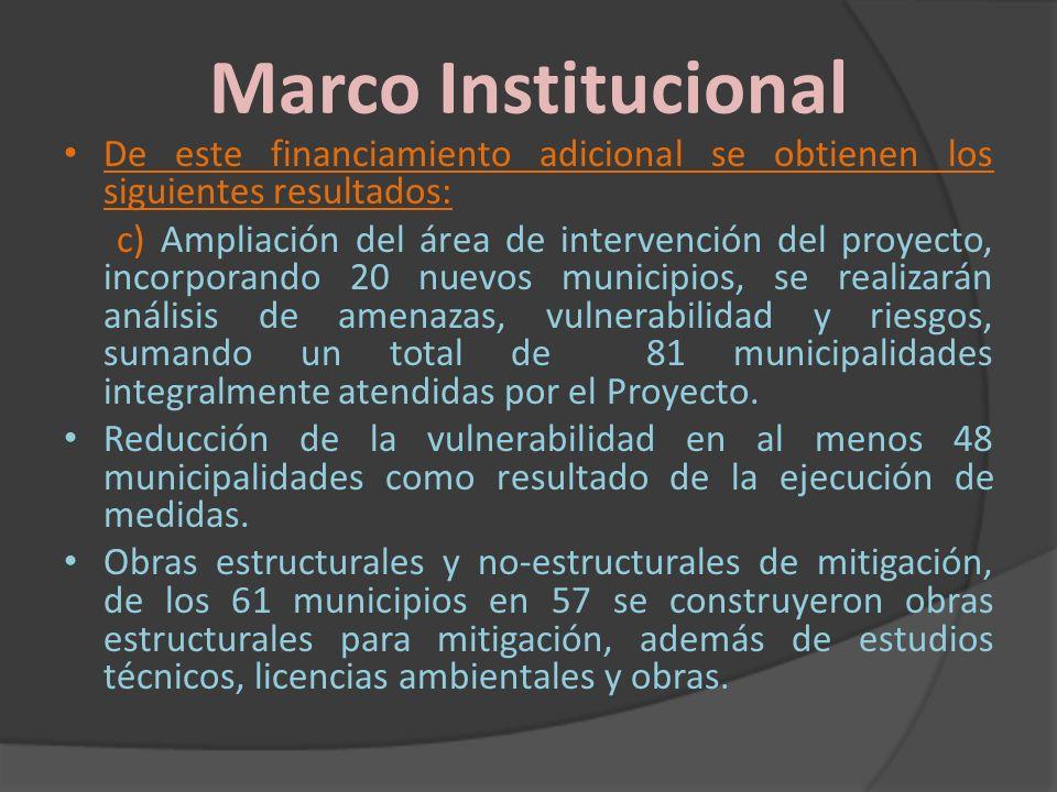 Marco Institucional De este financiamiento adicional se obtienen los siguientes resultados: