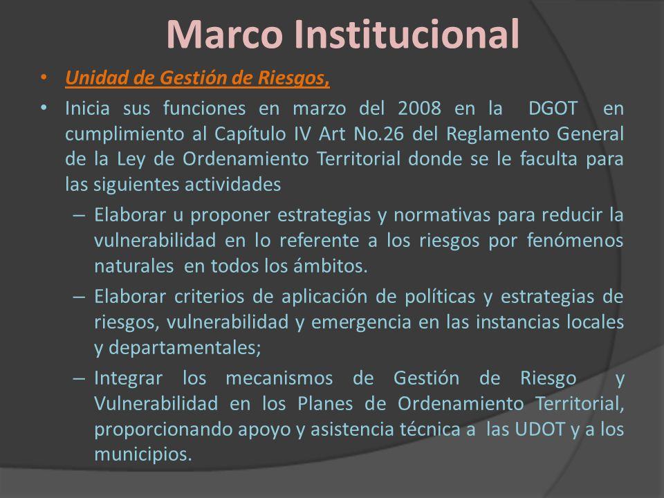 Marco Institucional Unidad de Gestión de Riesgos,