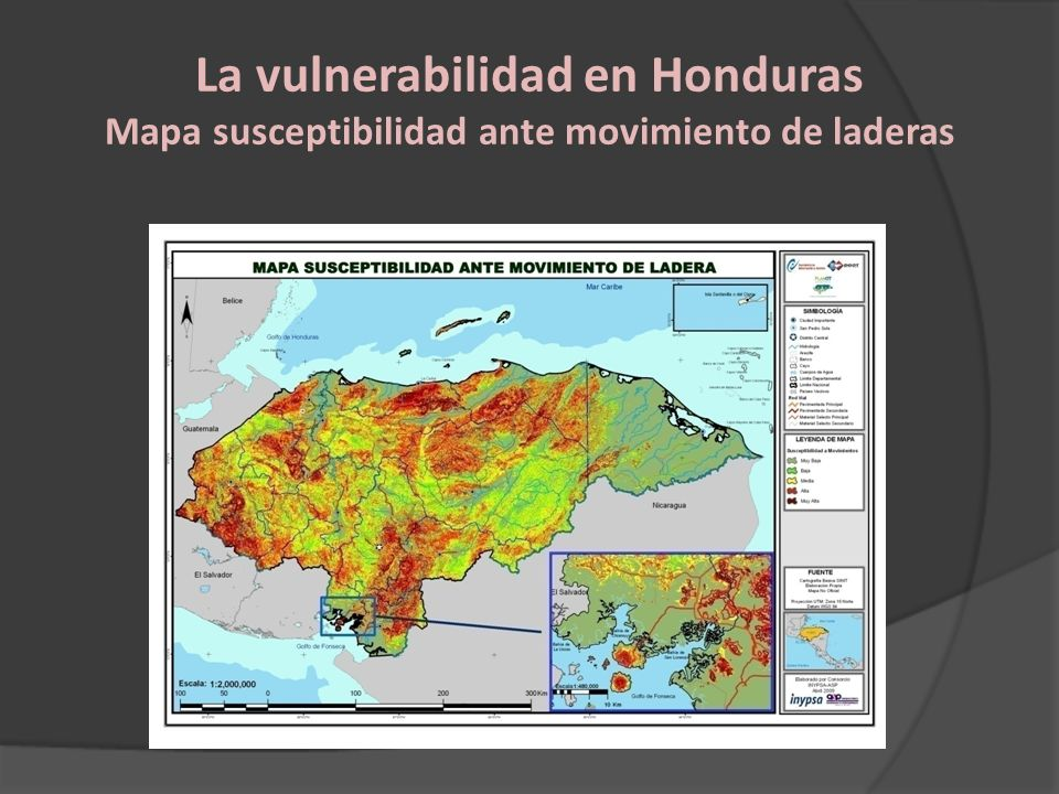 La vulnerabilidad en Honduras Mapa susceptibilidad ante movimiento de laderas