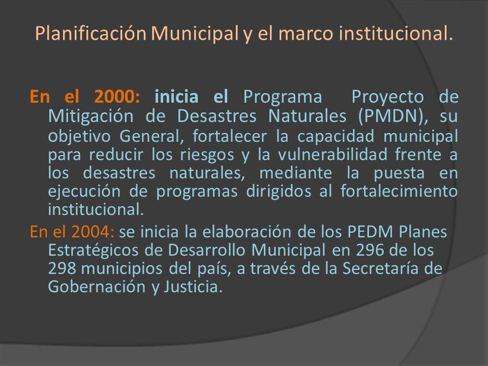 Planificación Municipal y el marco institucional.