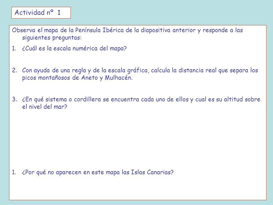 Actividad nº 1 Observa el mapa de la Península Ibérica de la diapositiva anterior y responde a las siguientes preguntas: