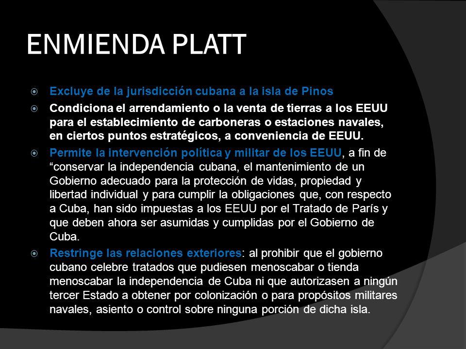 ENMIENDA PLATT Excluye de la jurisdicción cubana a la isla de Pinos