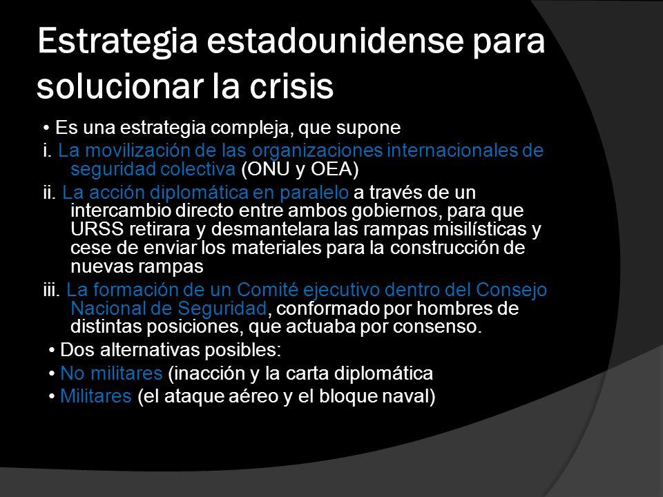 Estrategia estadounidense para solucionar la crisis