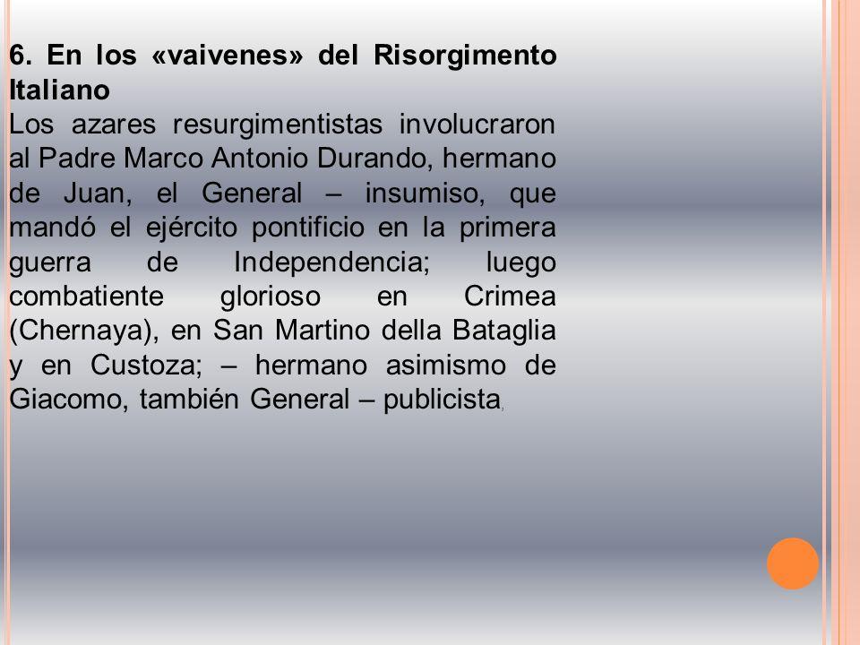 6. En los «vaivenes» del Risorgimento Italiano