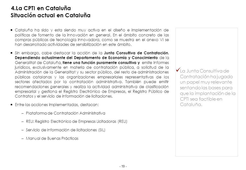 4.La CPTI en Cataluña Situación actual en Cataluña - Los presupuestos de la Generalitat
