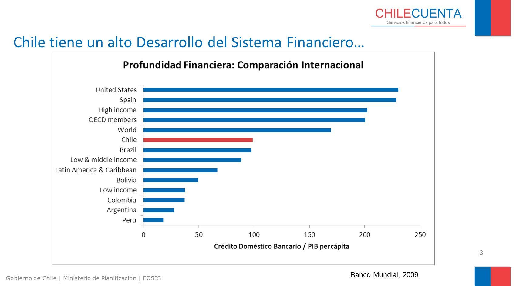 Chile tiene un alto Desarrollo del Sistema Financiero…