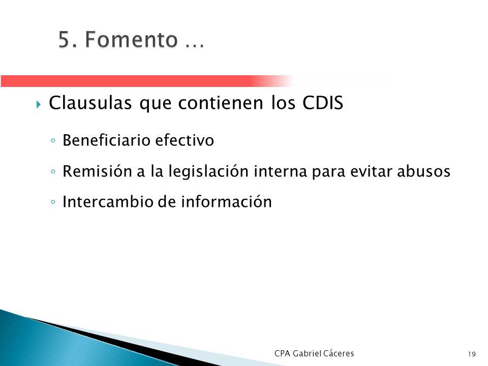 5. Fomento … Clausulas que contienen los CDIS Beneficiario efectivo