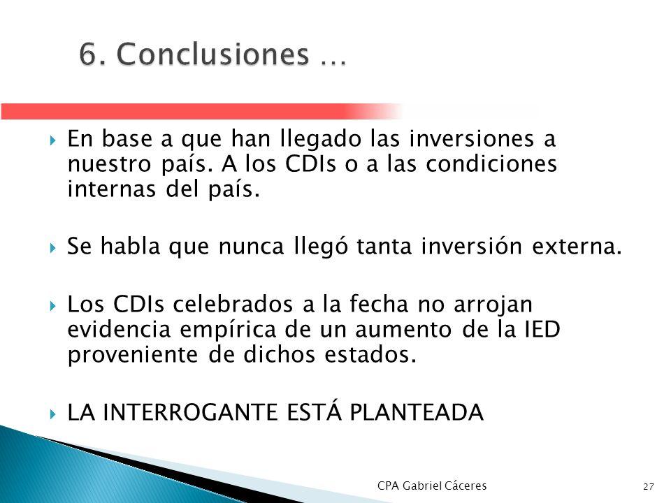 6. Conclusiones … En base a que han llegado las inversiones a nuestro país. A los CDIs o a las condiciones internas del país.